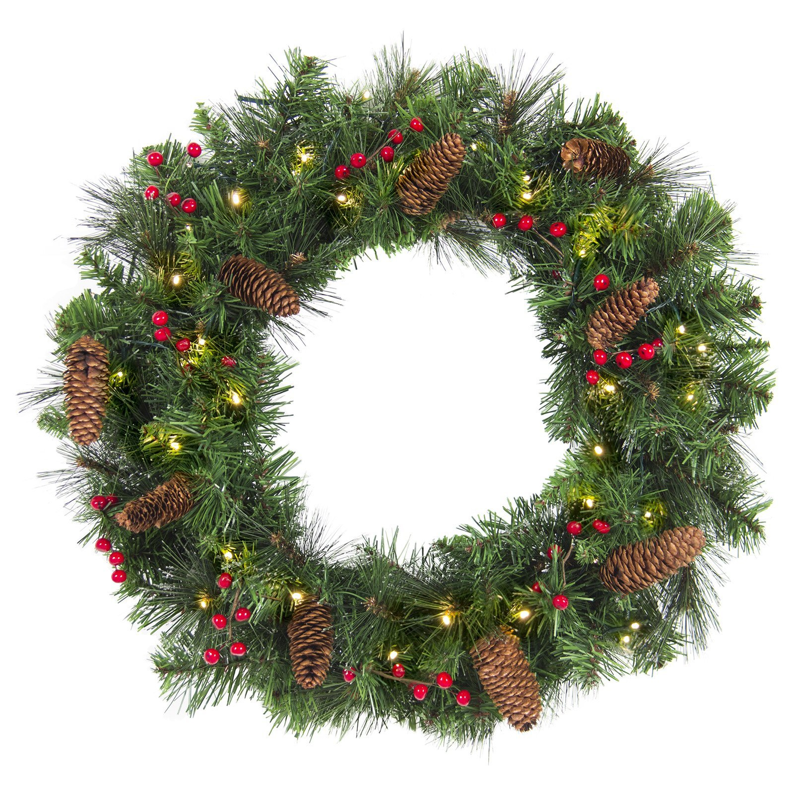 Best Choice Products 24'' Spruce Christmas Wreath W/ 50 Clear Lights, Silver Bristles, Pine Cones, Red Berries