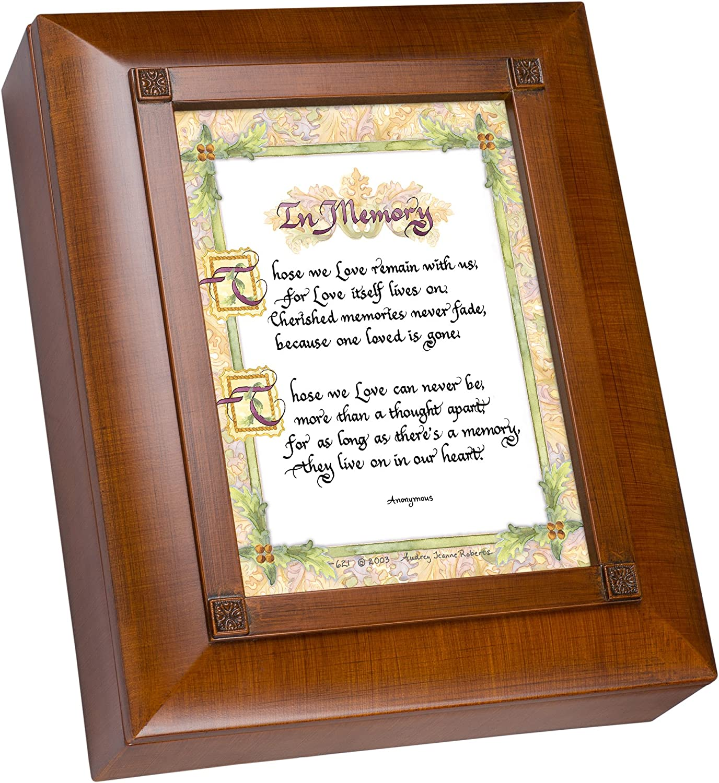 Cottage Garden in Memory Old World Script Woodgrain Remembrance Keepsake Box