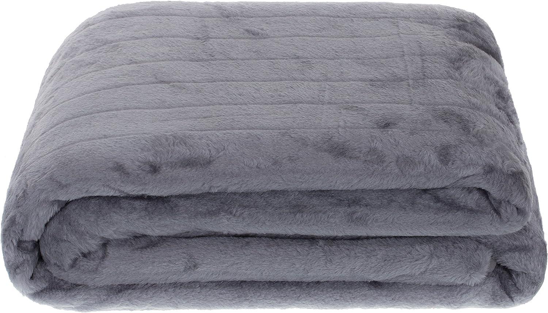 Brandsseller Coperta di Finta Pelliccia 150 x 200cm Coperta Accogliente Coperta di copriletto Antracite