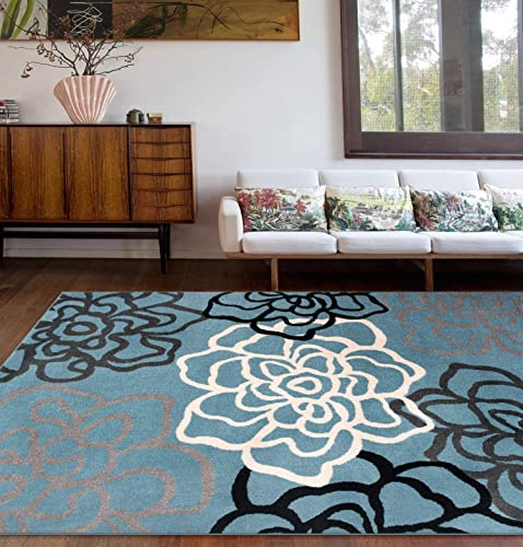 Rugshop Contemporary Modern Floral Flowers Area Rug 9 X 12 Blue