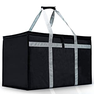 Insulated Food Delivery Bag for Catering, Extra Large, Hot Cold Meal Restaurant, Grocery Bags for Uber Eats, Instacart, Doordash, Grubhub, Postmates Black