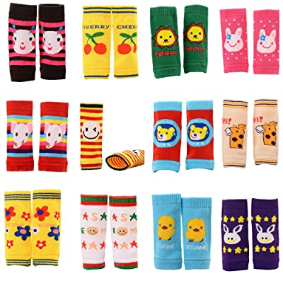 12 Pack Baby Leg Warmers Animal Theme Cartoon Knee Protectors