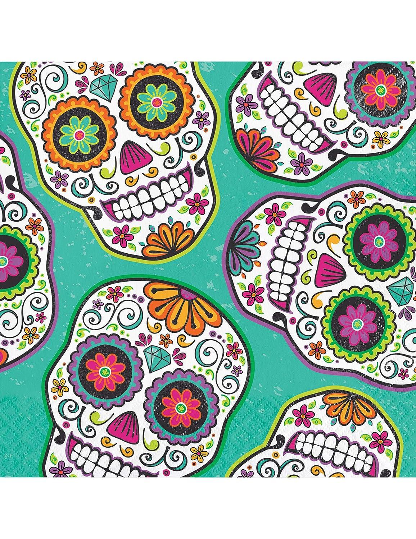Dia De Los Muertos Day Dead Halloween Skull 16 Ct Luncheon Napkins CC