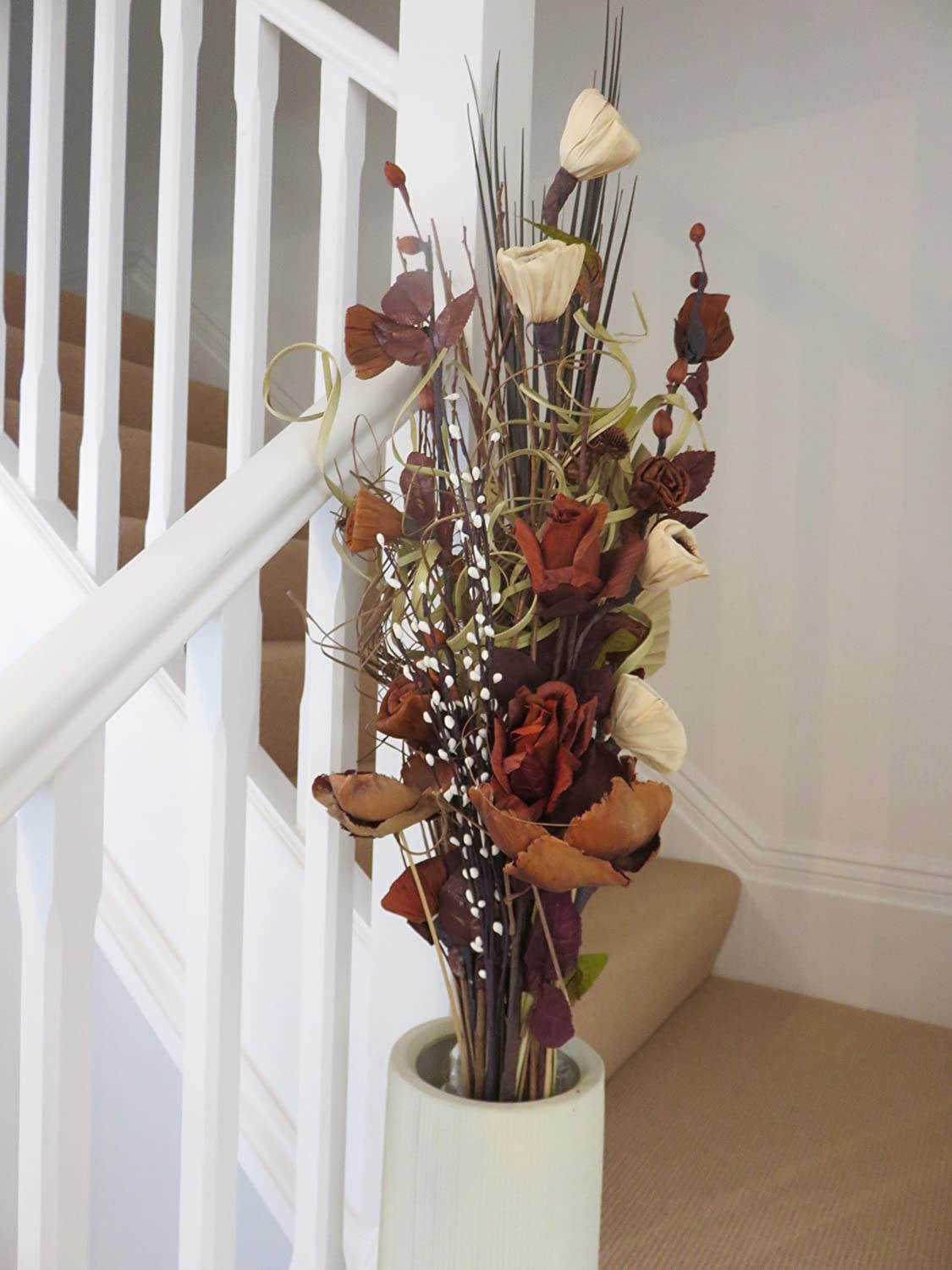 Twig light bouquet in wood vases with artificial flowers grasses own chocolate cream dried artificial flower bouquets 85cm tall ready for a vase reviewsmspy