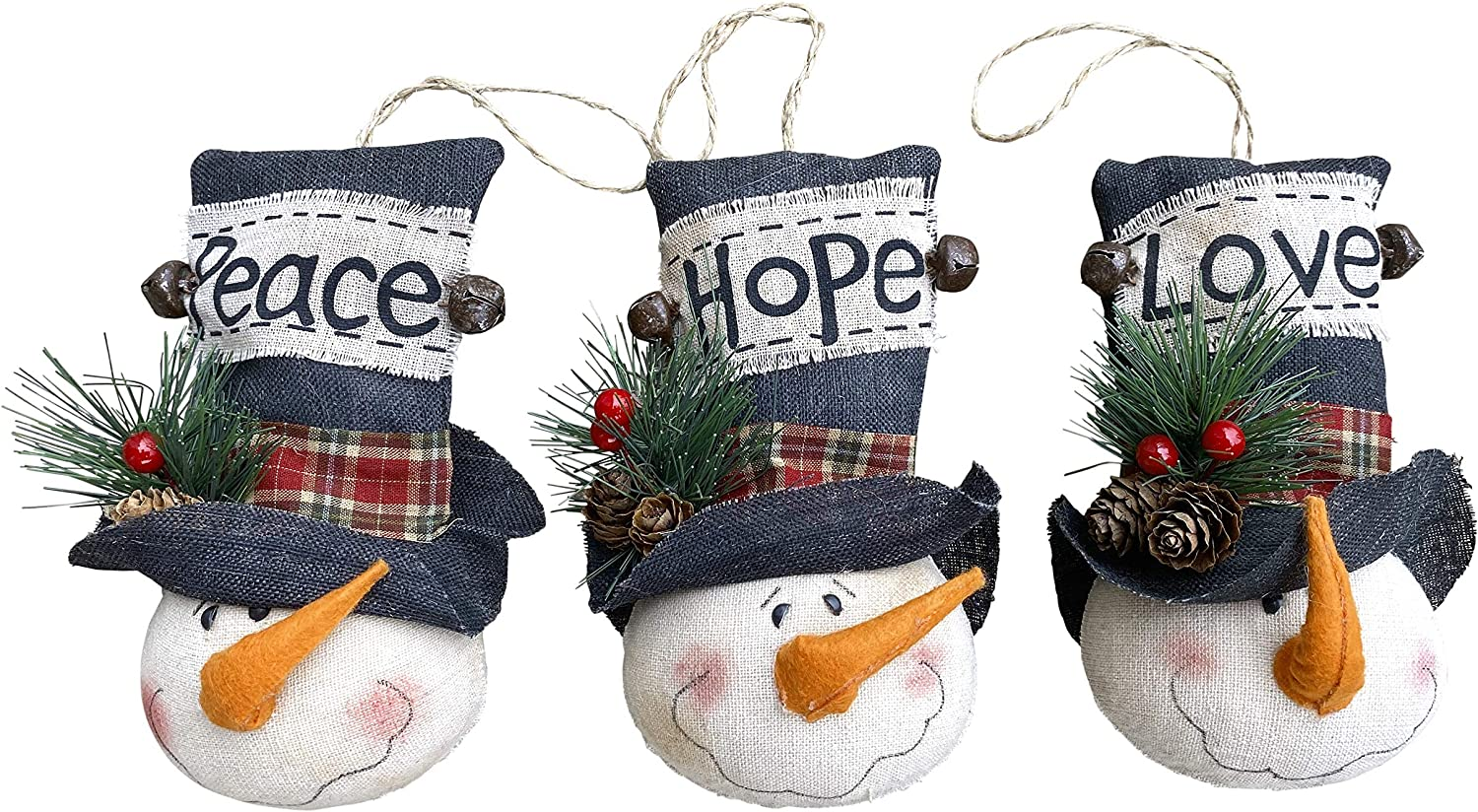 Clovers Garden Christmas Snowman Ornaments (Set of 3) Rustic Holiday Tree Decorations - Decorative Farmhouse Christmas Hanging Snowmen with Hope, Love, Peace Sayings Traditional Vintage Mantle Decor