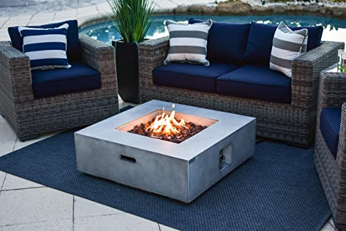 35 x 35 Square Outdoor Propane Gas Fire Pit Table in Gray