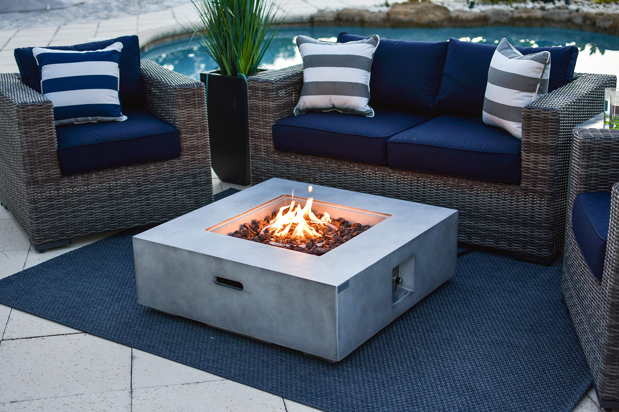 AKOYA Outdoor Essentials 35'' x 35'' Square Fiber Concrete Outdoor Propane Gas Fire Pit Table in Gray by AKOYA Outdoor Essentials