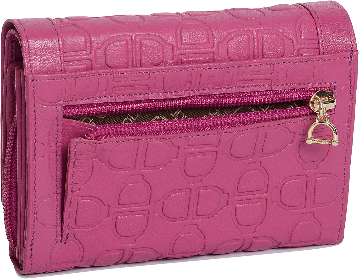 Fuchsia SADDLER Womens Medium Leather Credit Card Coin Purse Wallet with Zip Gift Boxed