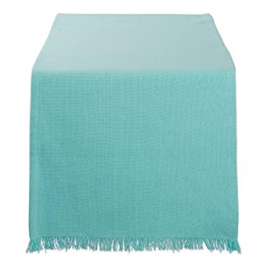 DII Cotton Woven Heavyweight Table Runner with Decorative Fringe for Spring, Summer, Family Dinners, Outdoor Parties, & Everyday Use (14x72 ) Aqua Solid