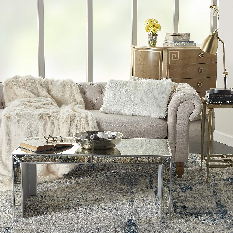 Mina Victory Lurex Remen Faux Fur White Throw Pillow 14 X 24 Home Kitchen