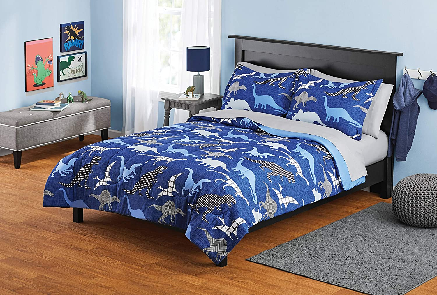 MS Zone 7PC Kids Bed in a Bag Microfiber Comforter Set Blue Dinosaurs Full