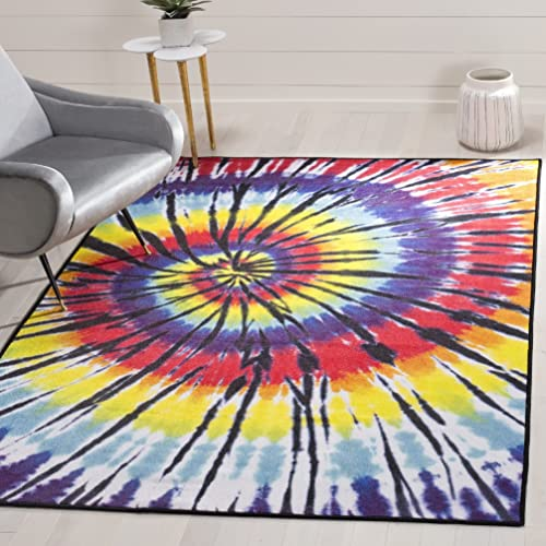 Graphic Geometric Swirls Theme Area Rug, Featuring Tie Dyed Like Artwork Motif, Rectangle Indoor Hallway Doorway Living Area Adults Bedroom Carpet, Geo Wavy Stripes Style, Yellow, Blue Size 5 1 x 7 6