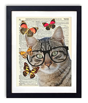 Nerd Cat With Butterflies Upcycled Vintage Dictionary Art Print 8x10