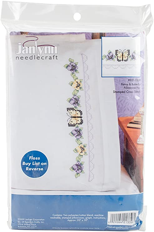 20 by 30-Inch Janlynn Dragonfly Pillowcase Pair Stamped Cross Stitch