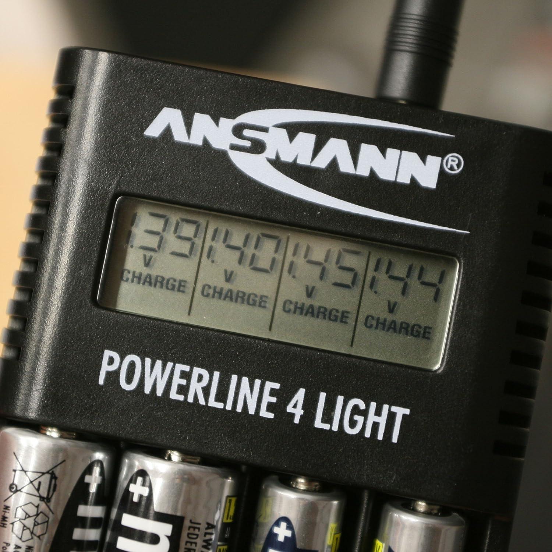 ,Negro Ansmann 1001-0011 Cargador Pilas Pantalla LCD, Ni-MH//Ni-CD AA//AAA