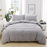 Neithera Duvet Cover Set Light Grey,3-Piece Nature Style Water-washed Microfiber Bedding Set With Zipper and corner Ties(Queen)