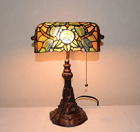 Stained Glass Tiffany Style Dragonfly Turtleback Banker's Lamp ...