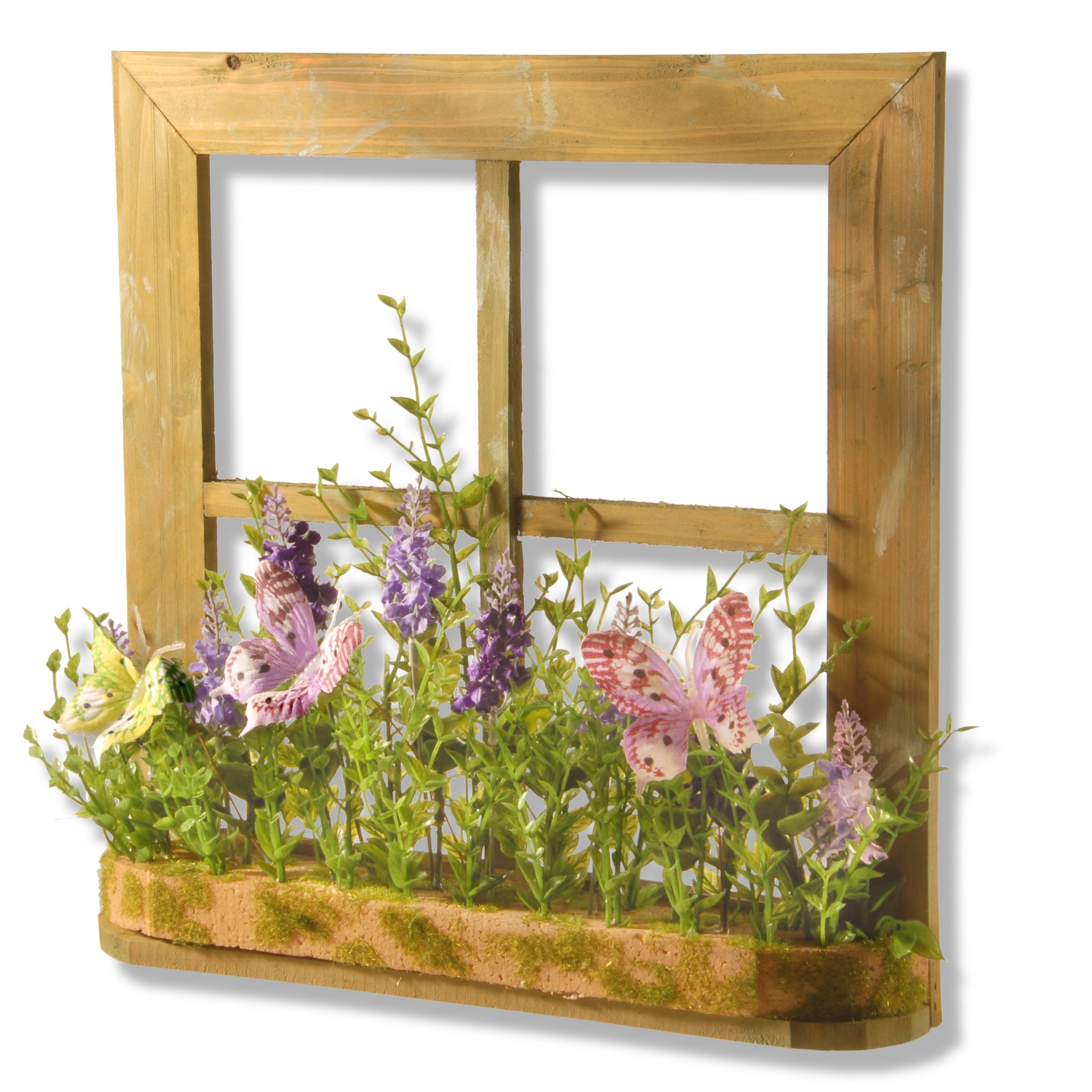 National Tree 14 Inch Square Window Frame Décor with Lavenders and Butterflies (RAS-15522CT)