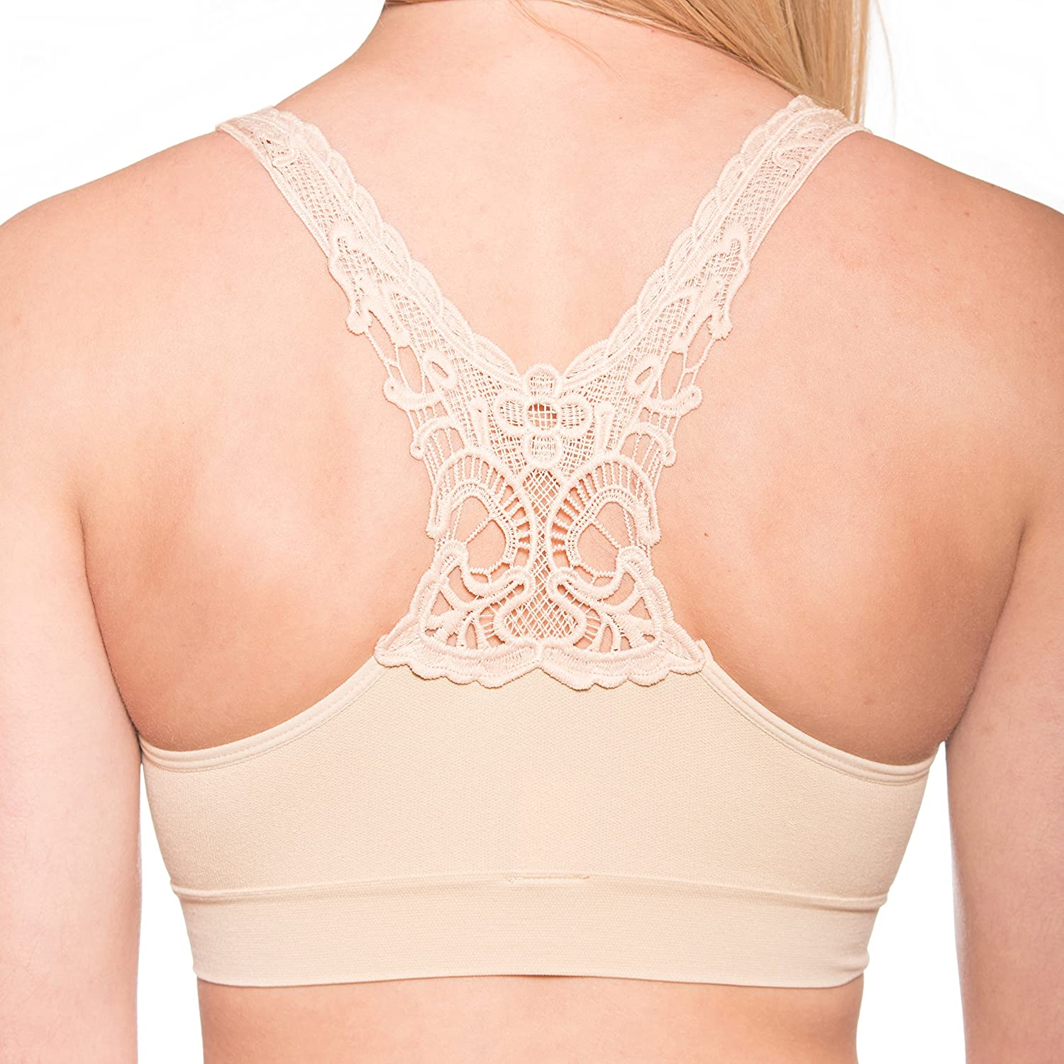 8d47ce7dc1f35 Amazon.com  Seamless Butterfly Back Bra – Pullover Wirefree Comfort Bra - 2  Pack (Large 40-42
