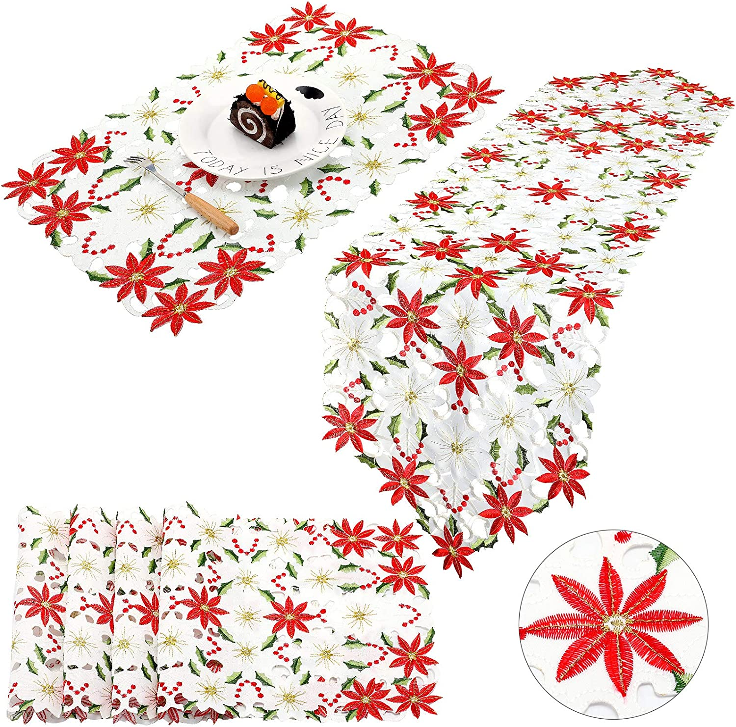 Embroidery Table Runner Placemat Luxury Holly Poinsettia Table Runner for Xmas