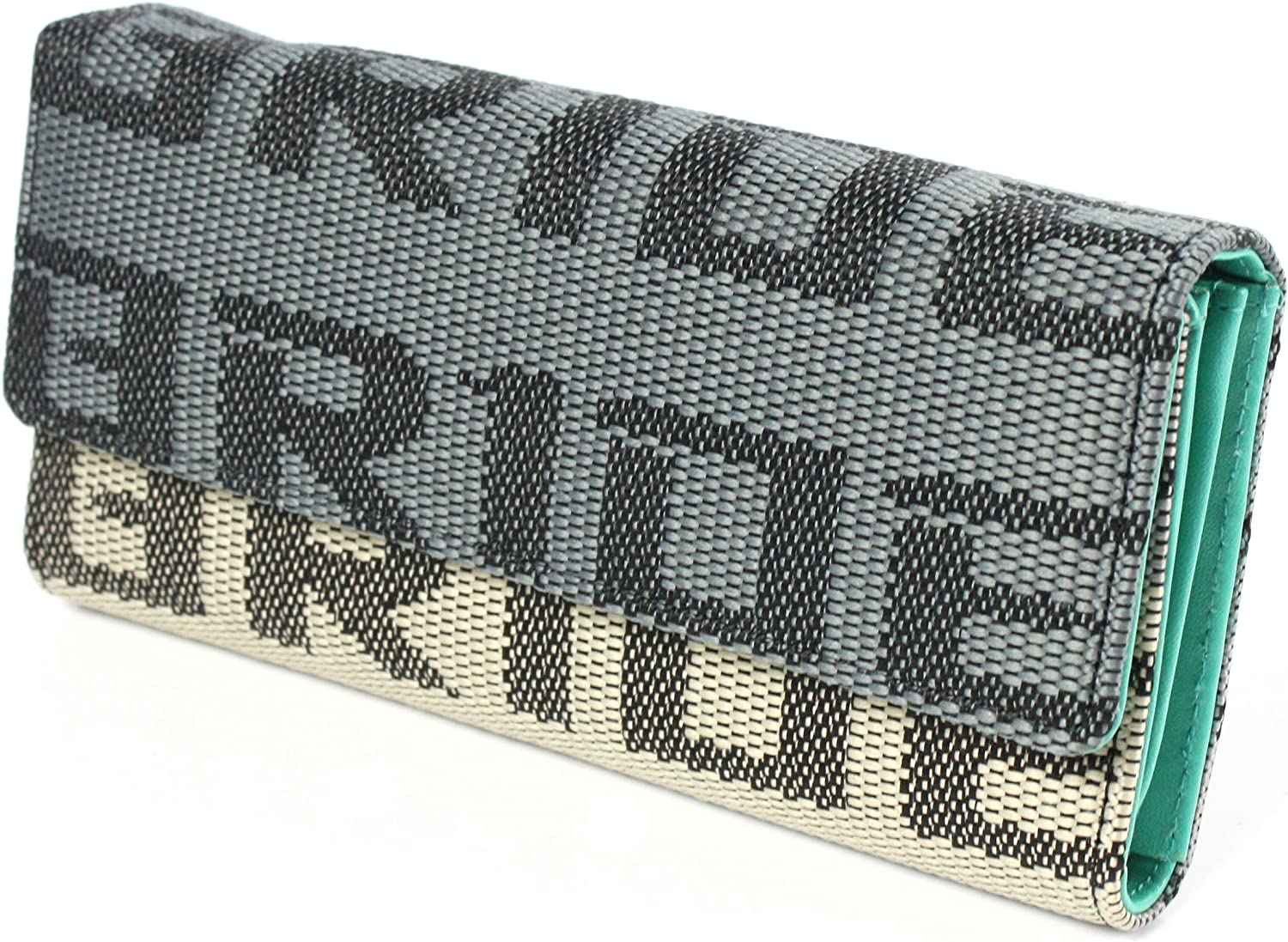 Key Bride Racing Women/'s Ladies Wallet Clutch Trifold Fabric Leather Teal