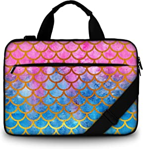 RICHEN Canvas Laptop Shoulder Bag Compatible with 11.6/12/12.9/13 Inches Laptop Netbook,Protective Canvas Carrying Handbag Briefcase Sleeve Case Cover with Side Handle (11-13 inch, Mermaid Scale)