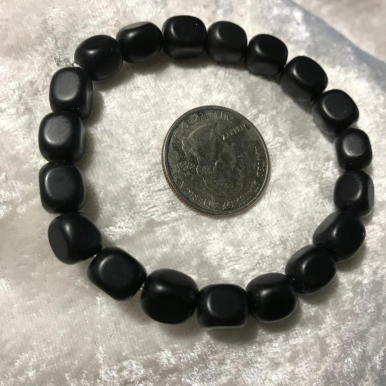 natural Black Onyx Cubes Beaded Gemstone Stretch Bracelet