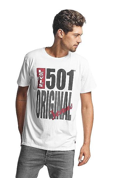 Levis Hombre Camiseta original 501, Blanco, Small