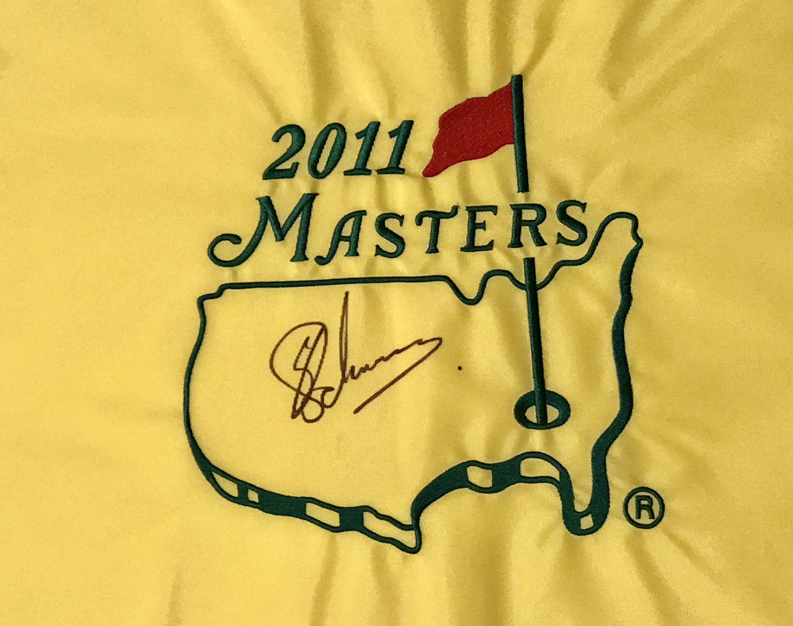 CHARL SCHWARTZEL Signed 2011 Masters Golf Tournament Pin Flag Pga