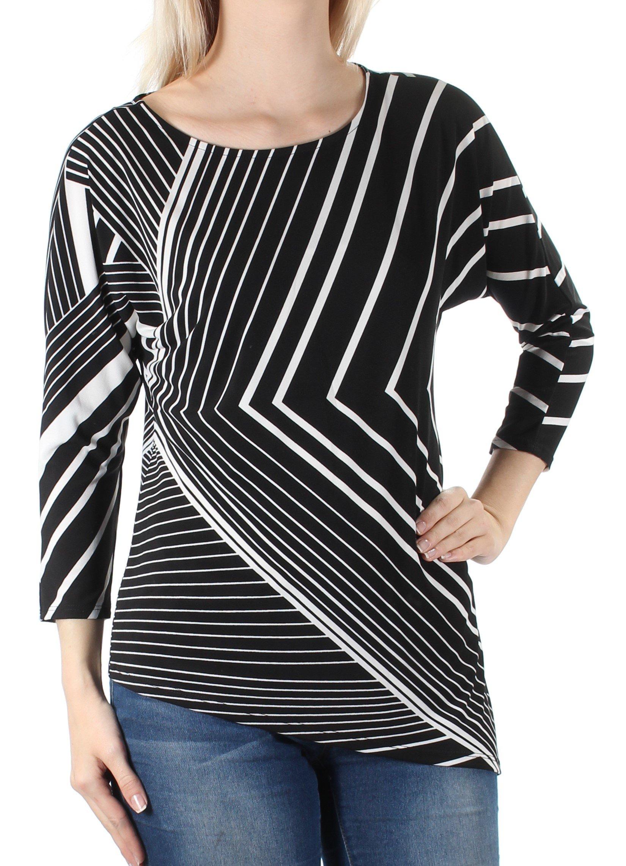 Alfani 60 Womens 1449 Black Striped Asymetrical 3/4 Sleeve Top S Petites B+B