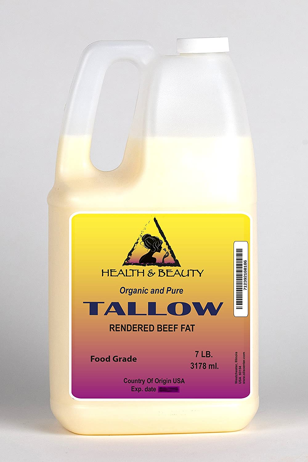 Tallow Organic Foods Grass-Fed Rendered Beef Fat Traditional Cooking Oil All Natural 100% Pure 7 LB, 1 gal, 3178 ml H&B OILS CENTER Co.