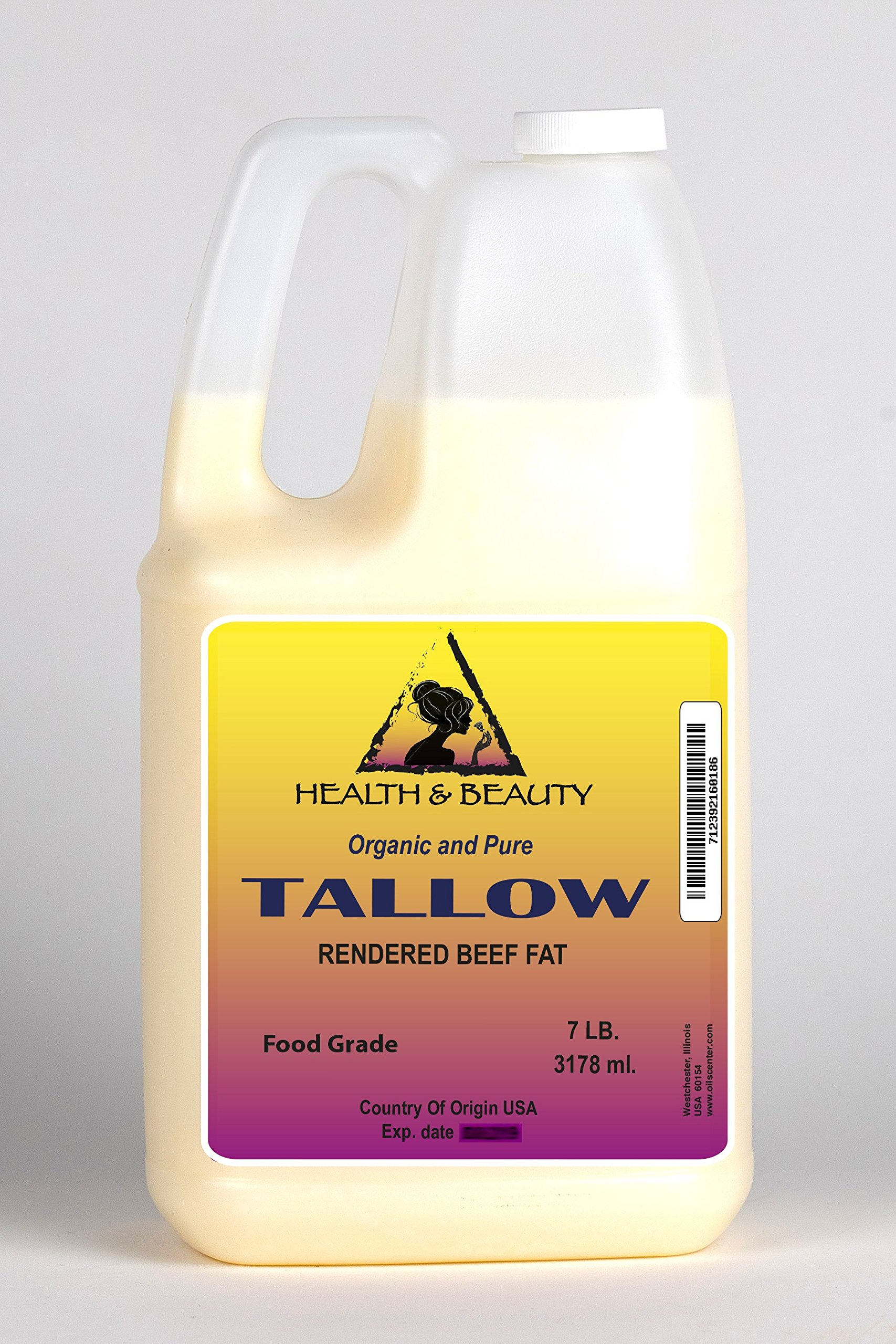 Tallow Organic Foods Grass-Fed Rendered Beef Fat by H&B OILS CENTER Traditional Cooking Oil All Natural 100% Pure 128 oz, 7 LB, 1 gal