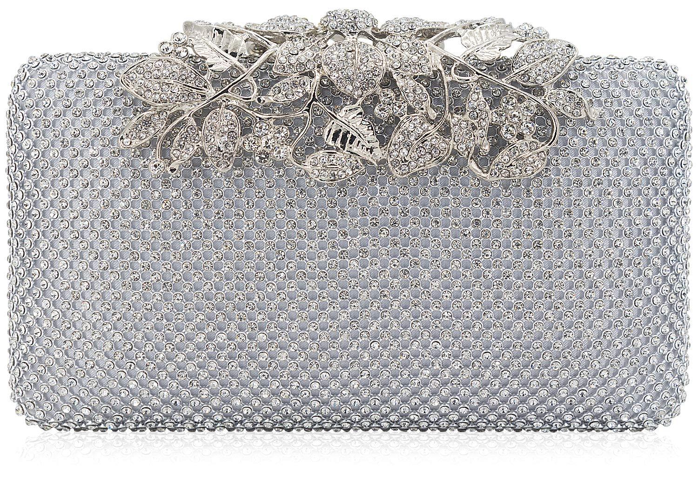 Dexmay Womens Evening Bag with Flower clasp Wedding Handbag Rhinestone Crystal Clutch Purse Silver
