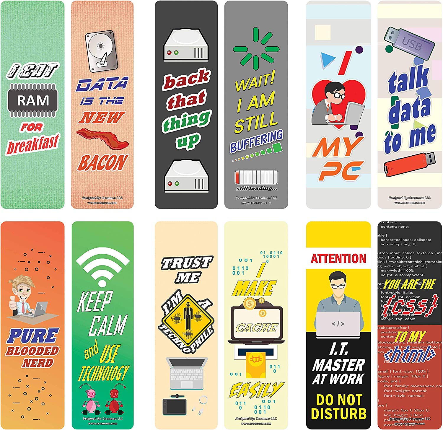 Creanoso Funny Techie Sayings Bookmark Cards (12-Pack) – Premium Gifts Bookmarks for Geeks, Nerds, Tech Lovers – Stocking Stuffers for Men, Women, Teen, Bookworms – Office Supplies – DIY Kit