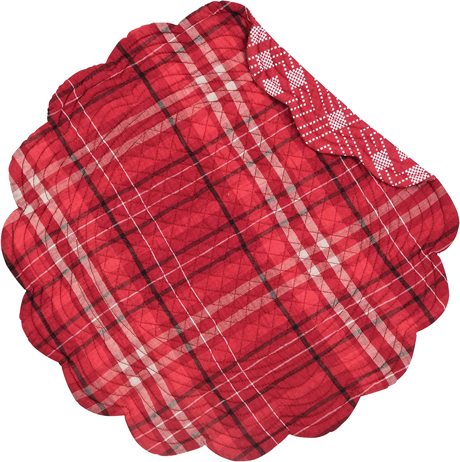 C&F Home Andrew Red Plaid Cabin Lodge Rustic Round Cotton Quilted Single Cotton Reversible Machine Washable Placemat Round Placemat