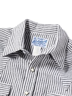 Linen Cotton Stripe Weatern Shirt 111-13-5554: Navy