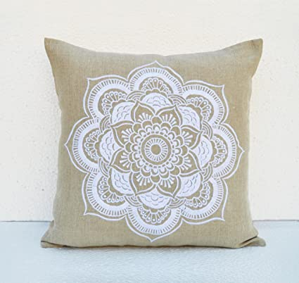 Amazon.com: VLiving Mandala linen pillow cover Embroidered ...