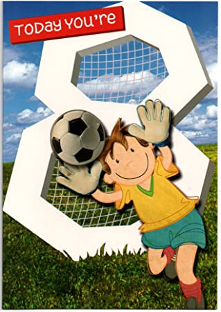 Football Birthday Card For Eight 8 Year Old Boy