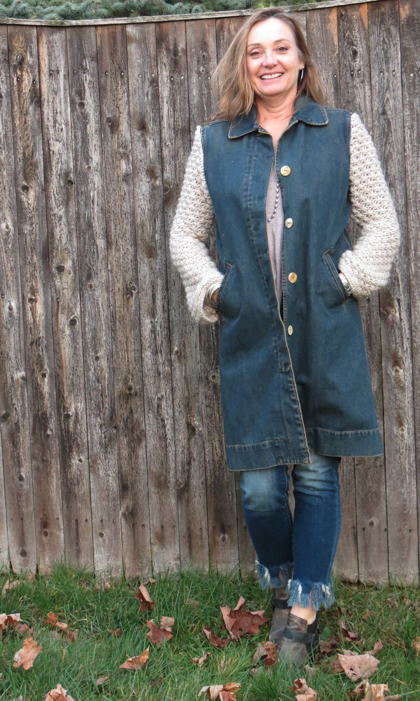 Champagne Kotted Knit Sleeved Mixed Media Dark Denim Trench Coat