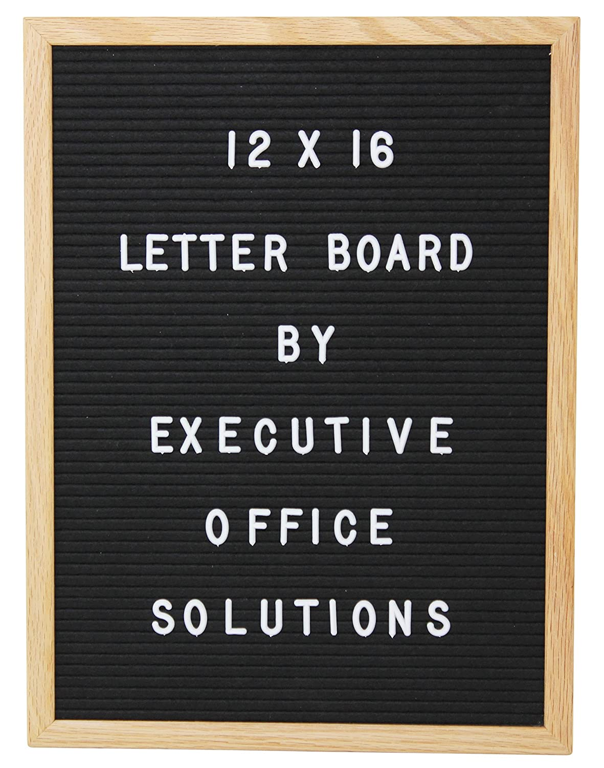12 x 16 Changeable Letter Board - Black With Solid Oak Frame, Wall Mount, Canvas Bag, and 290 Characters - by Executive Office Solutions