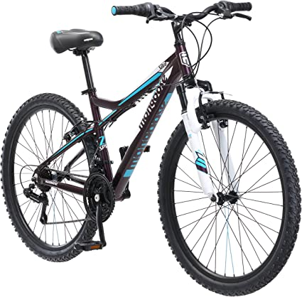 Outdoor Propelled Vehicle Full Suspension Mountain Bike in White and Pink Finish