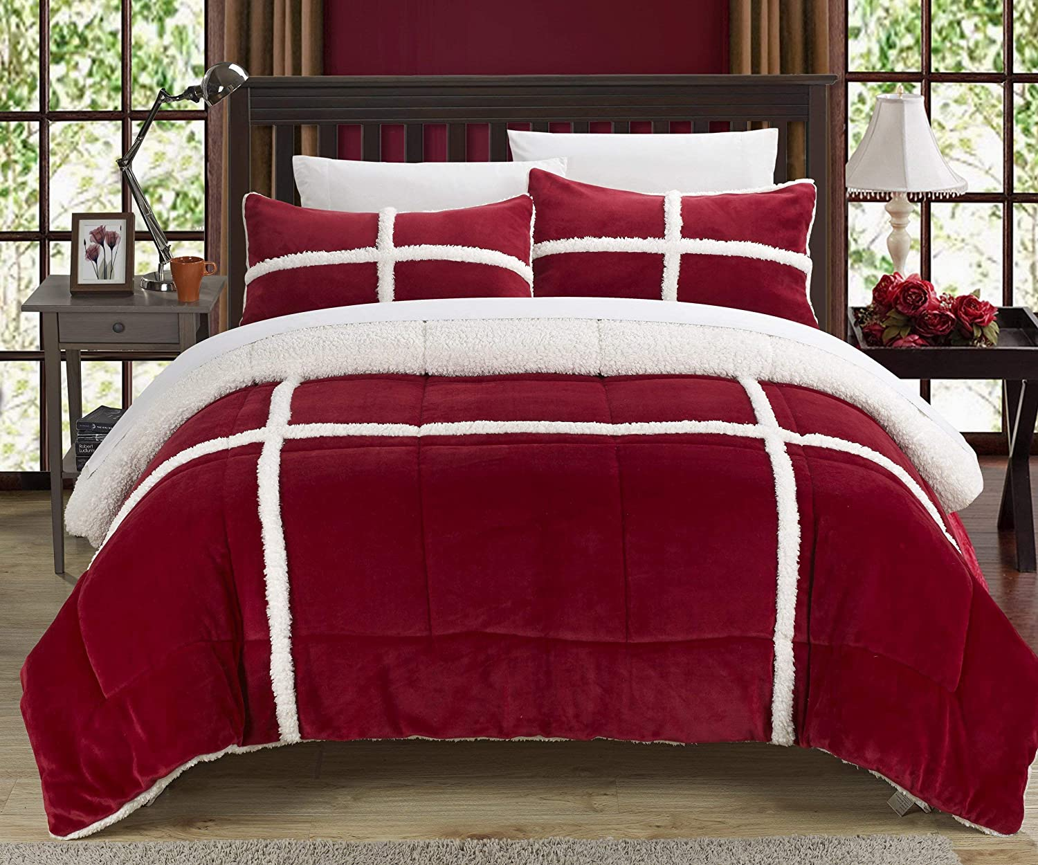 Chic Home 3 Piece Chloe Sherpa Comforter Set, Queen, Red