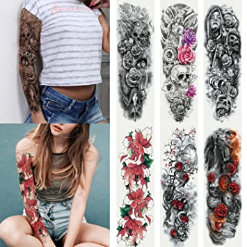 Kotbs 6 Sheets Full Arm Temporary Tattoo, Waterproof Extra Large Temporary  Tattoos for Women Men Adults