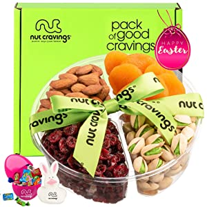 Premade Easter Gift Baskets for Adults & Kids, Candy Filled Eggs + Bunny - Dried Fruit & Nut Platter (4 Mix Tray) - Healthy Food Arrangement, Care Package Variety, Prime Assortment, Kosher Snack Box