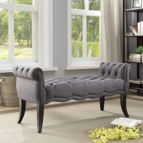 Linon Mason Charcoal Rolled Arm Bench