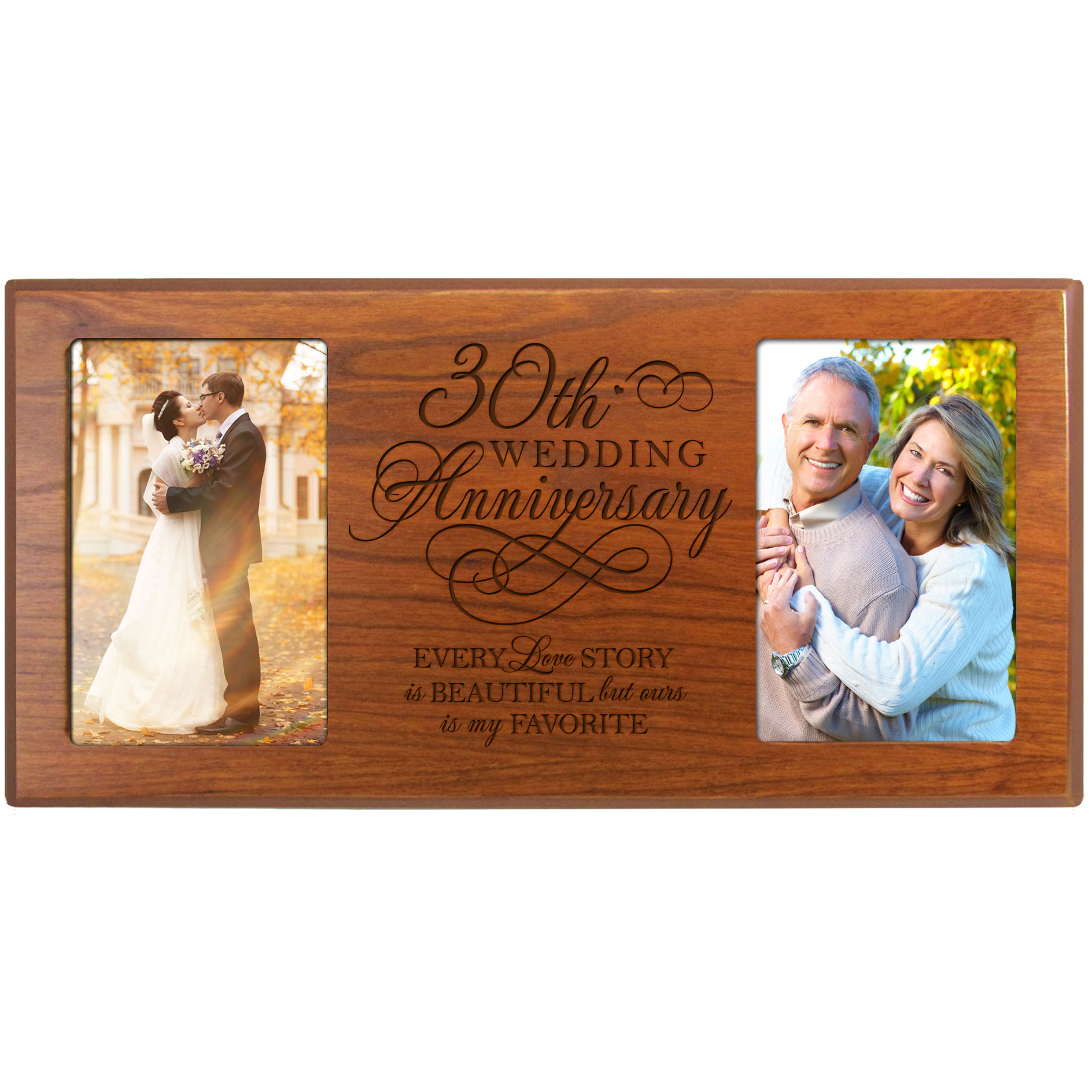 LifeSong Milestones 30th for Couple 30 Year Wedding Every Love Story is Beautiful but Ours is My Favorite Anniversary Picture Frame Gift for Couple Frame Holds 2-4x6 Photos (Cherry)