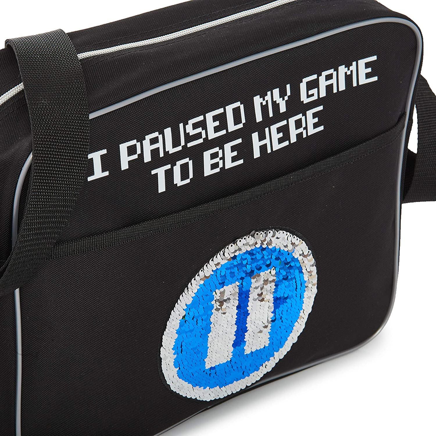 Great Gift Idea For Gamers School Or Travel Crossbody Shoulder Bag for Gym CityComfort Messenger Bag I Paused My Game To Be Here Design with Flippy Sequin Play-Pause Detail