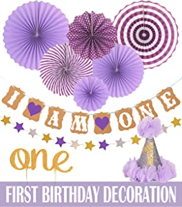 "FIRST BIRTHDAY DECORATION SET FOR GIRL- 1st Baby GIRL Birthday Party, Stars Paper Garland, Gold Cake Topper""One"", Purple Banner, Purple Fiesta Hanging Paper Fan Flower (First Birthday Decoration) …"