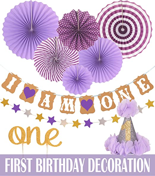 Amazon.com: Juego de decoración de primer cumpleaños para ...
