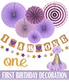 First Birthday Decoration Set for Girl- 1st Baby Girl Birthday Party Stars Paper Garland Gold Cake Topper One Purple Banner Purple Fiesta Hanging Paper Fan Flower Purple Baby Hat (Purple)